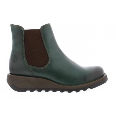 Fly London Salv Petrol Green Leather Chelsea Boot