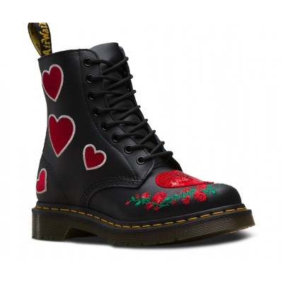 Dr Martens 1460 Pascal Hearts - Black/Red