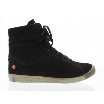 Softinos Iro Fur-lined High Top - Black suede