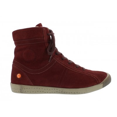 Softinos Iro Fur-lined High Top - Red suede