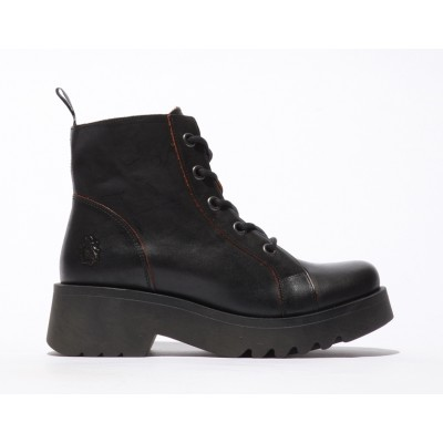 Fly London Metz Boot - Black/red
