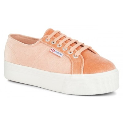 Superga Women's 2790 Velvet Pink Dusty Coral Platform Trainer