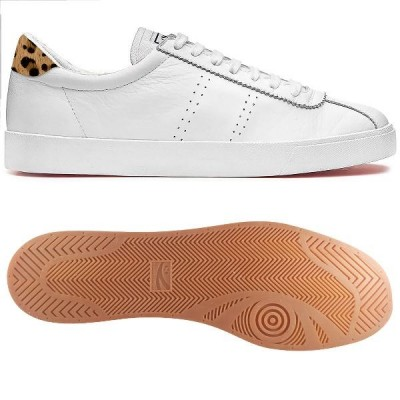Superga 2843 Sport - White Leather/Leopard