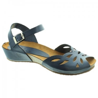 Yokono Capri 003 Low Wedge Sandal - Blue / Navy