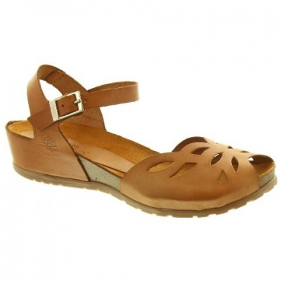 Yokono Capri 003 Low Wedge Sandal - Tan