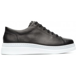 Camper Runner Up Trainer - Black Leather/White Sole