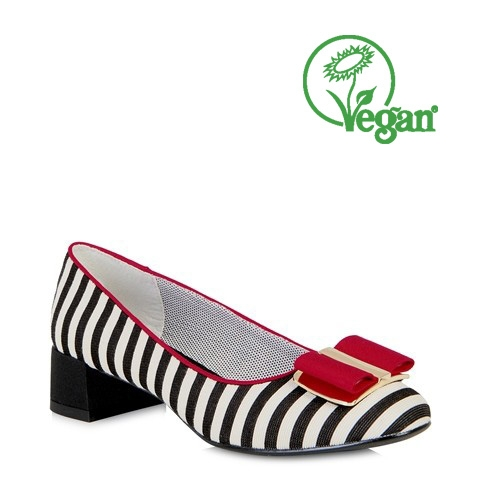 Ruby Shoo June Block Heel Shoe Black/White Stripe