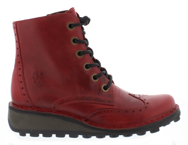 FLY London MARL Brogue Boot - Red