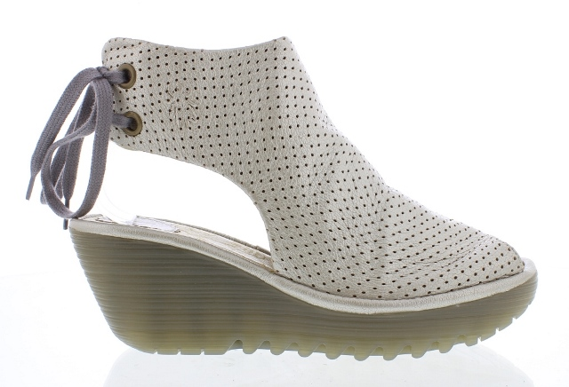 Fly London Women's Ypul  Silver Leather Wedge Sandal