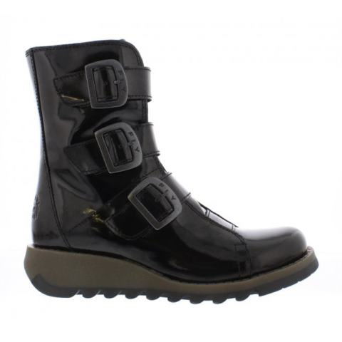 FLY London SCOP Mid Calf Boot - Patent Black