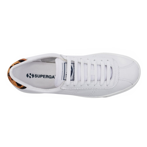 Superga 2843 Sport Trainer - White Leather/Leopard Print